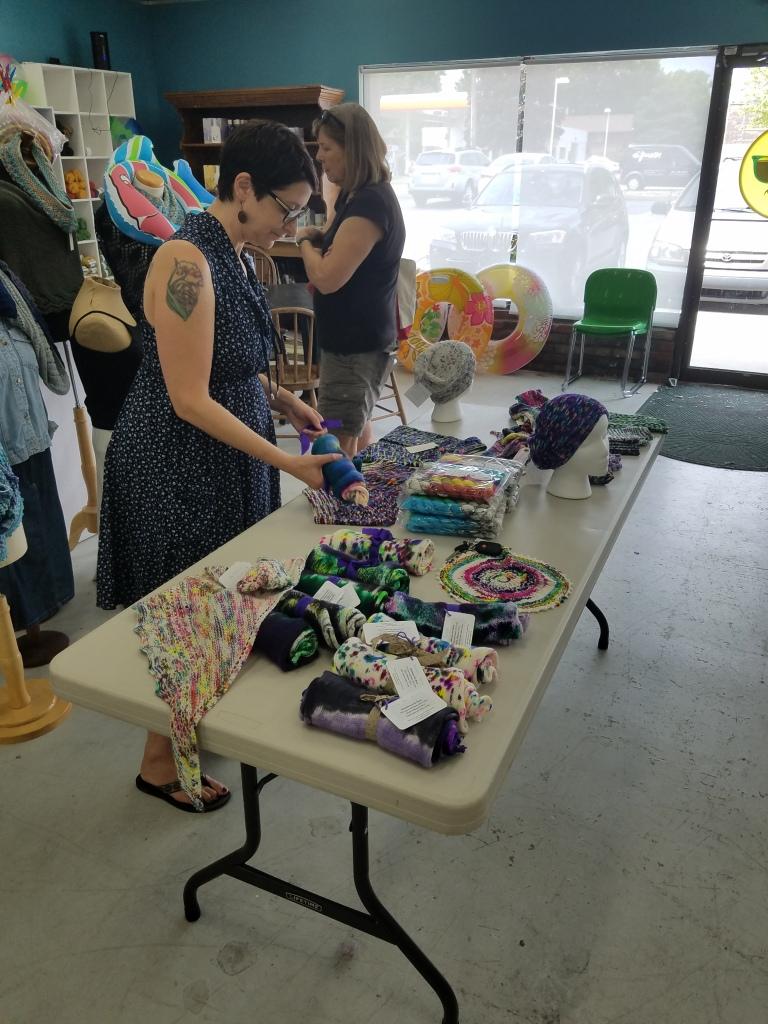 Michele of Hummingbird Moon organizing table