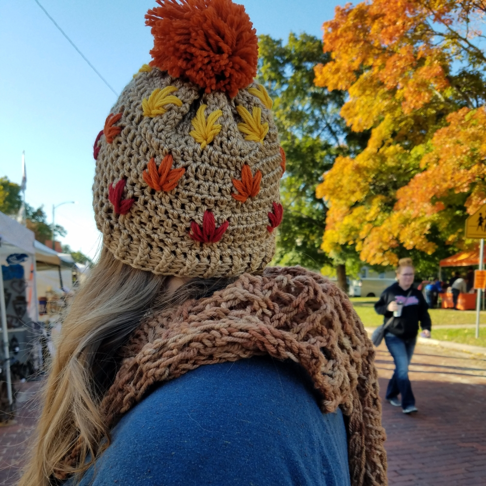 Leafy autumn hat crochet