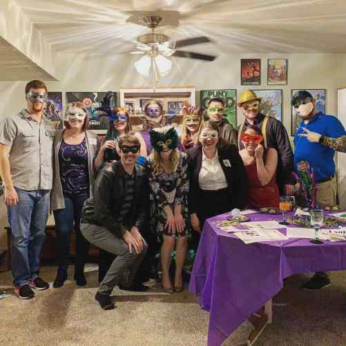 murder mystery party group photo