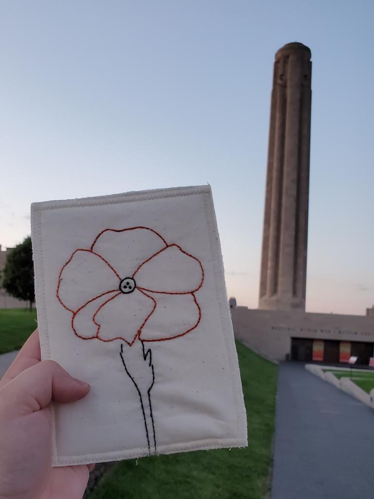 Finished poppy postcard