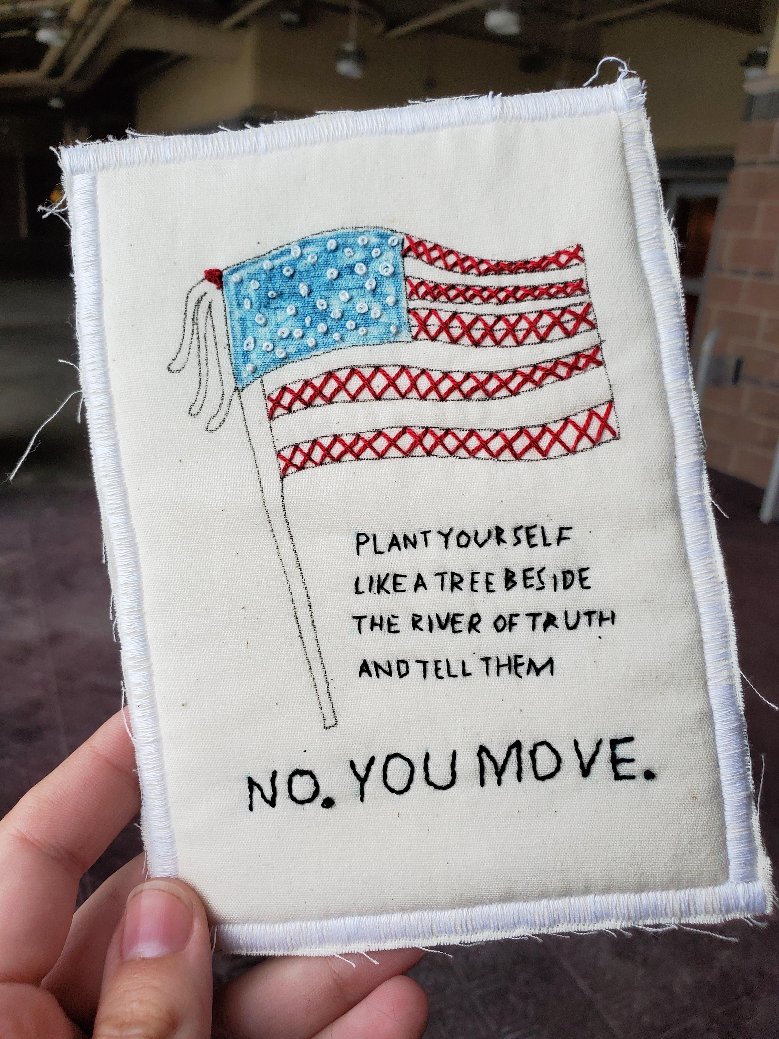 American flag embroidered postcard