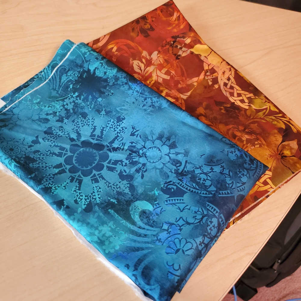 teal and bronze fabric from Quilter's Paradise