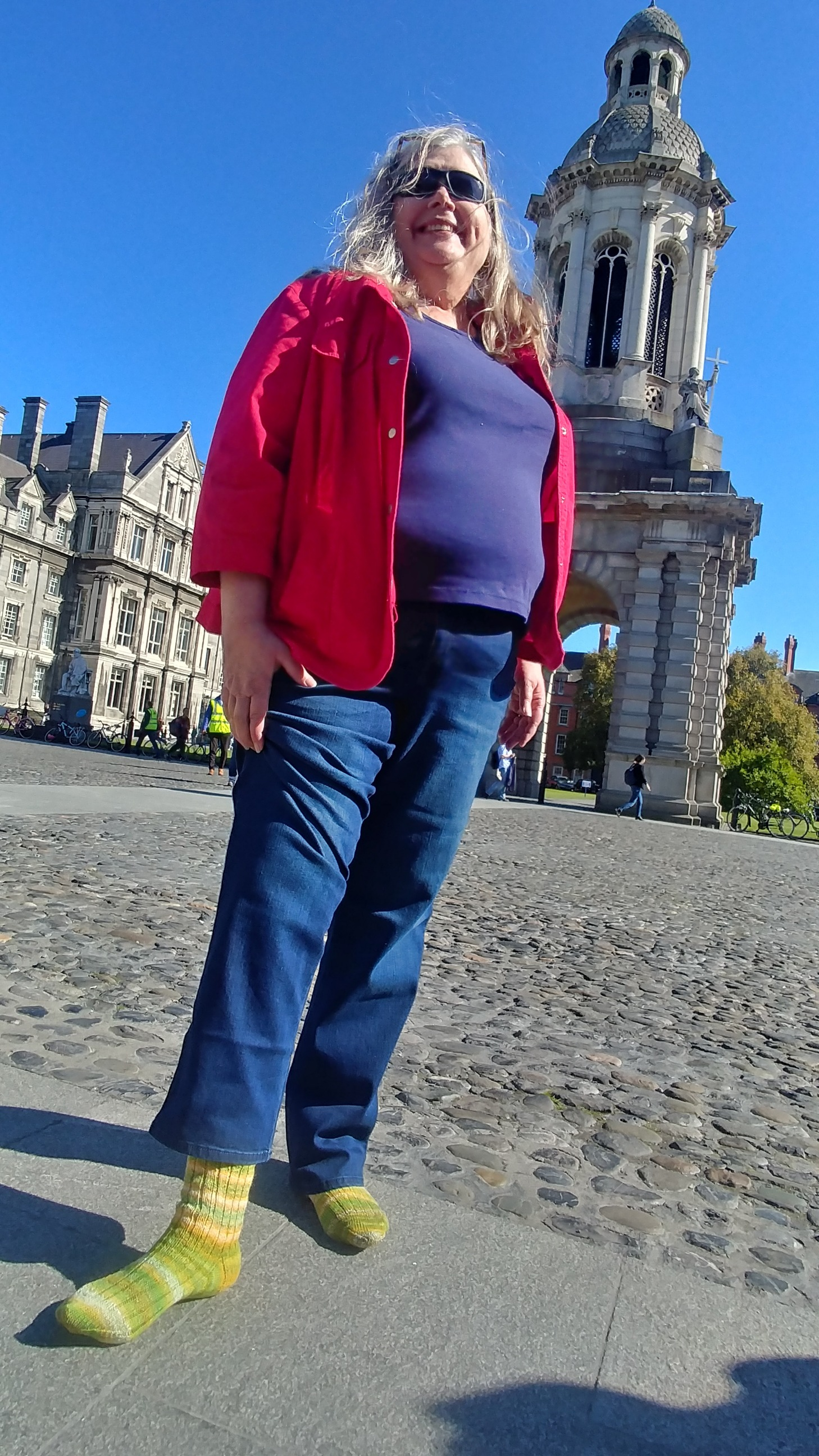 Mom and her socks at Trinity college