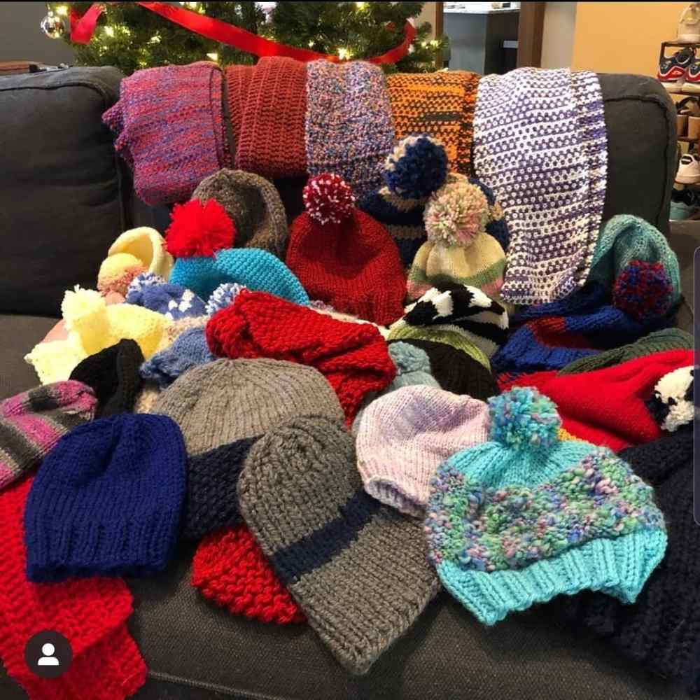 All of the donated hats and scarves