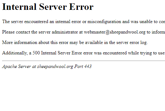 Internal Server Error Message