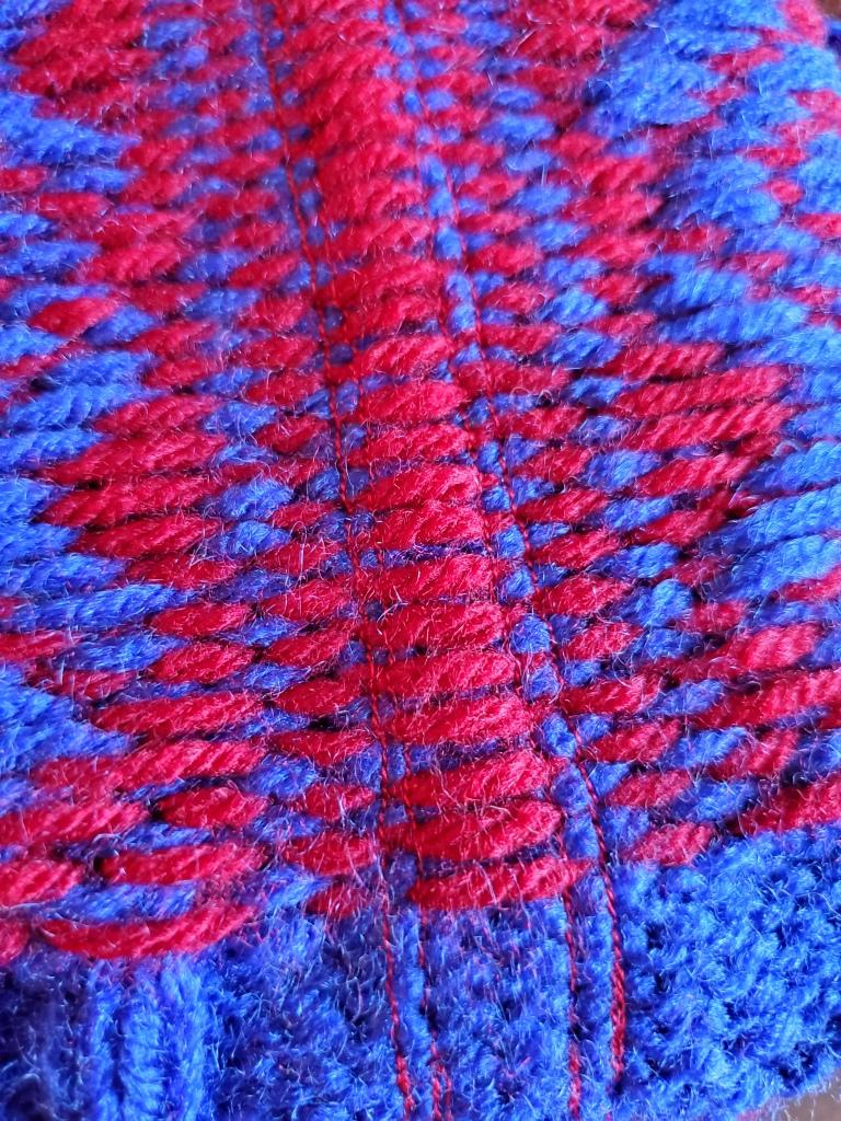 steek machine-stitch lines