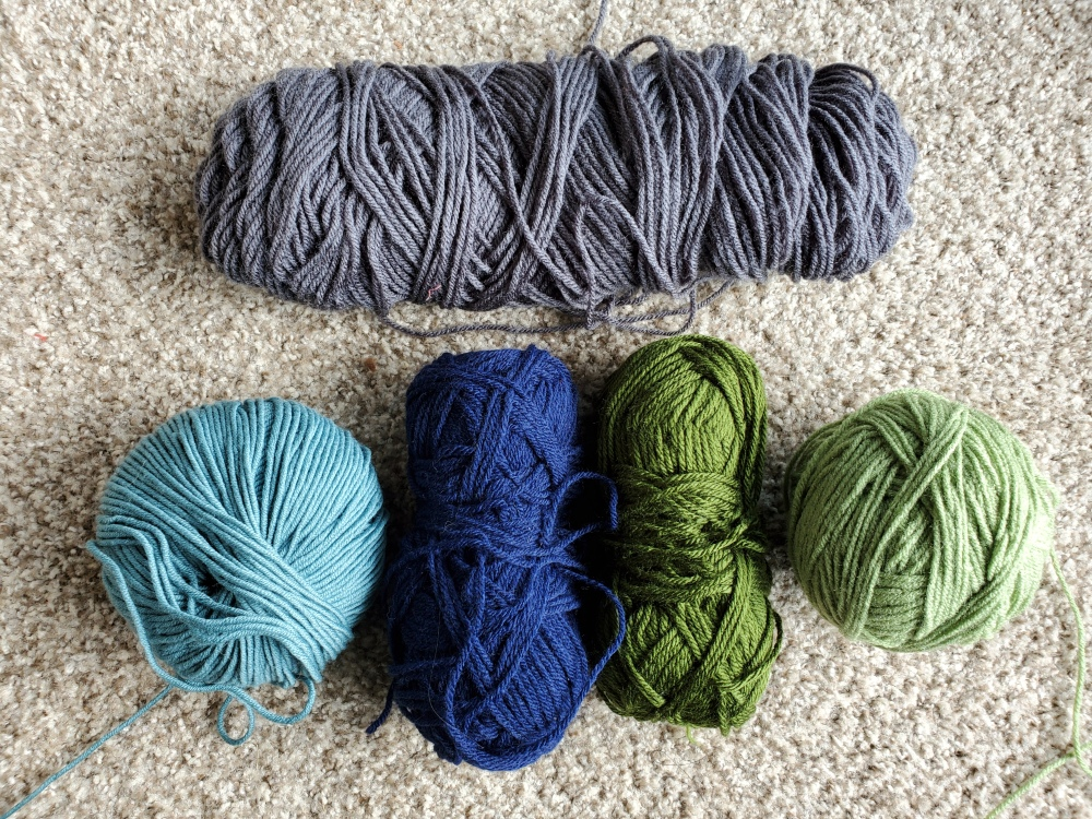 Blue/Green/Gray yarns