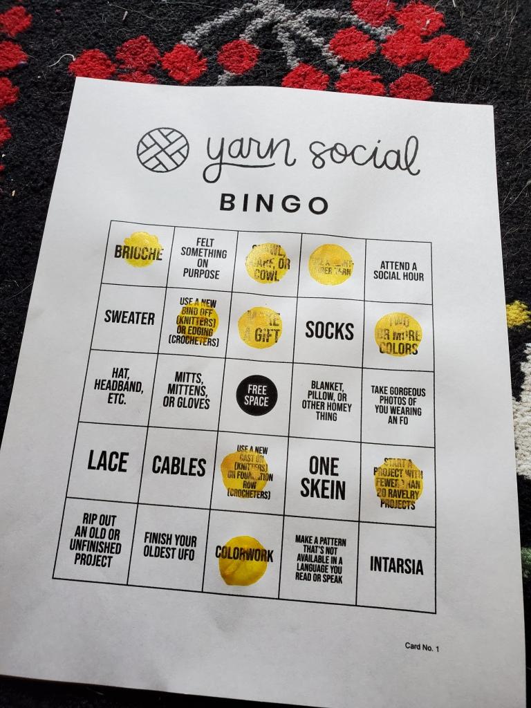 yarn social bingo card