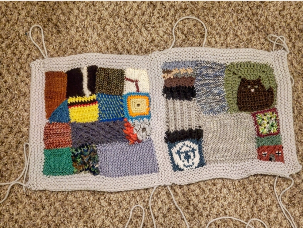 Two scrappy squares of Emma's My Year in Yarn blanket