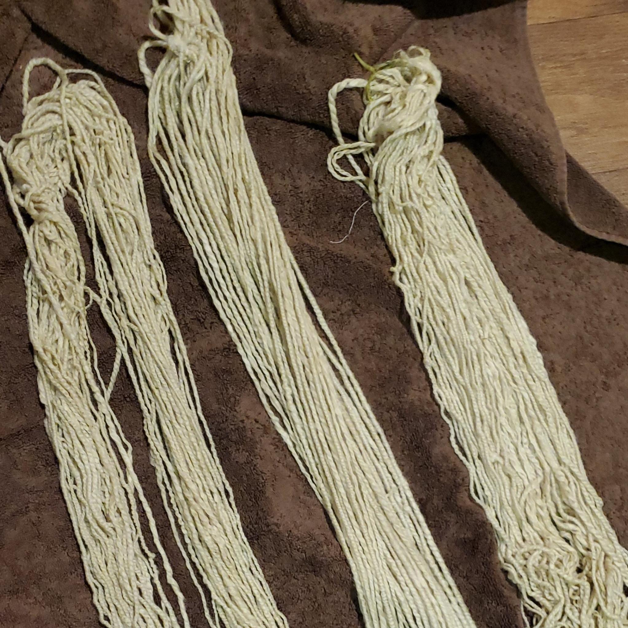 wet yarn fresh out of the dye bath