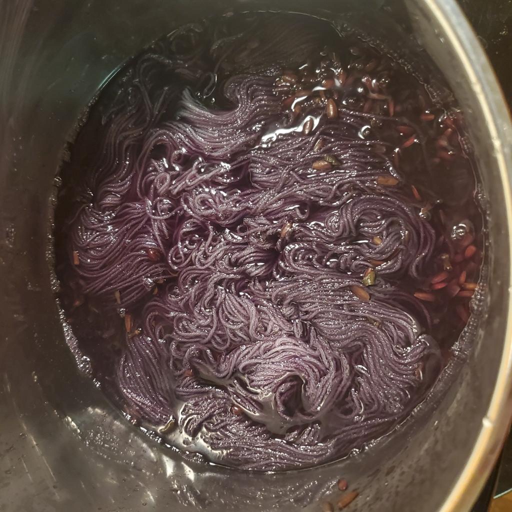 Hopi sunflower/alum dye bath