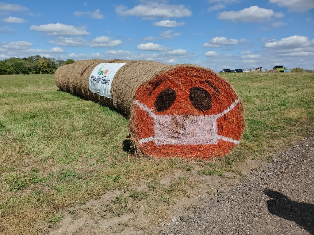 Hay-bale painted to look like a jack o lantern wearing a mask