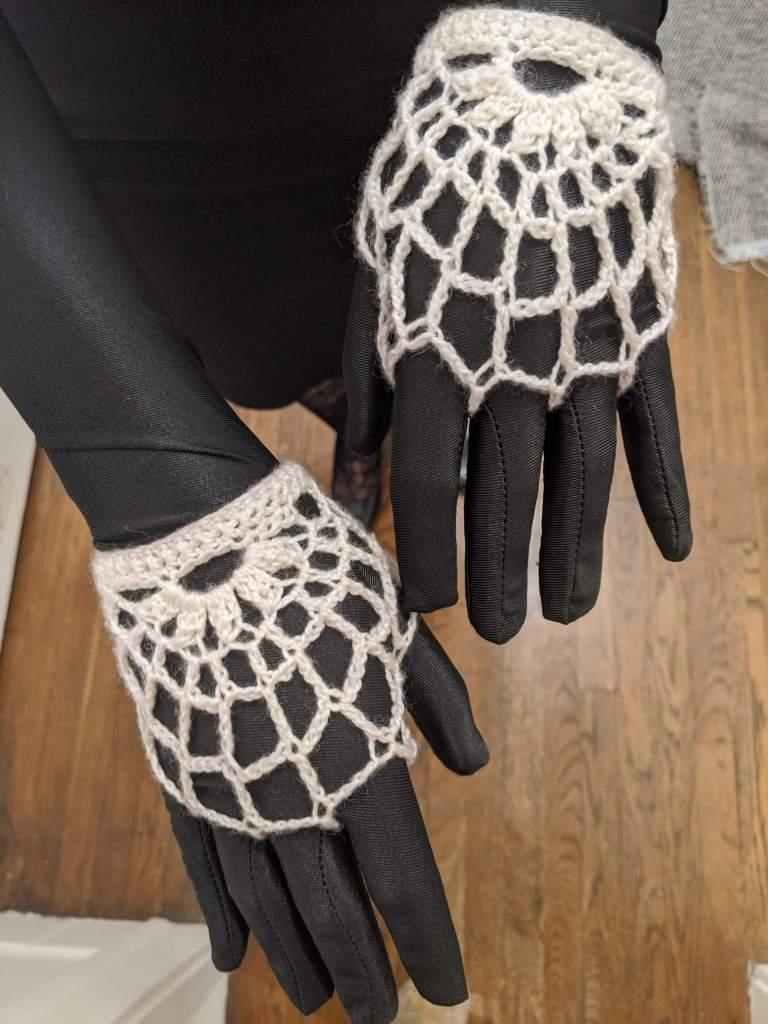 crocheted spiderweb mitts