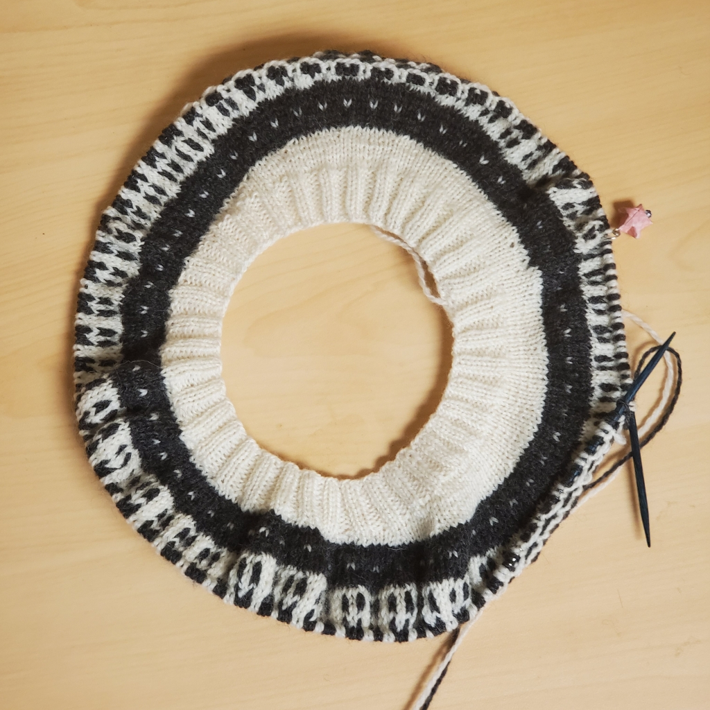 Partial yoke of a Black and White Dissent sweater