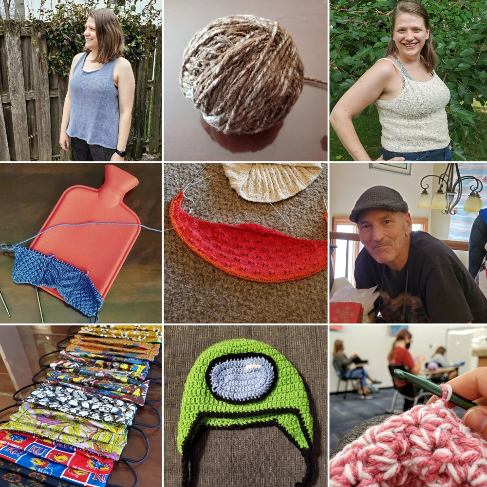 Nine grid of crafting projects: A blue tank, a brown ball of yarn, a white tank, and purple knitting project, a red knitting project, a gray hat, handmade masks, a green hat, a pink crochet project