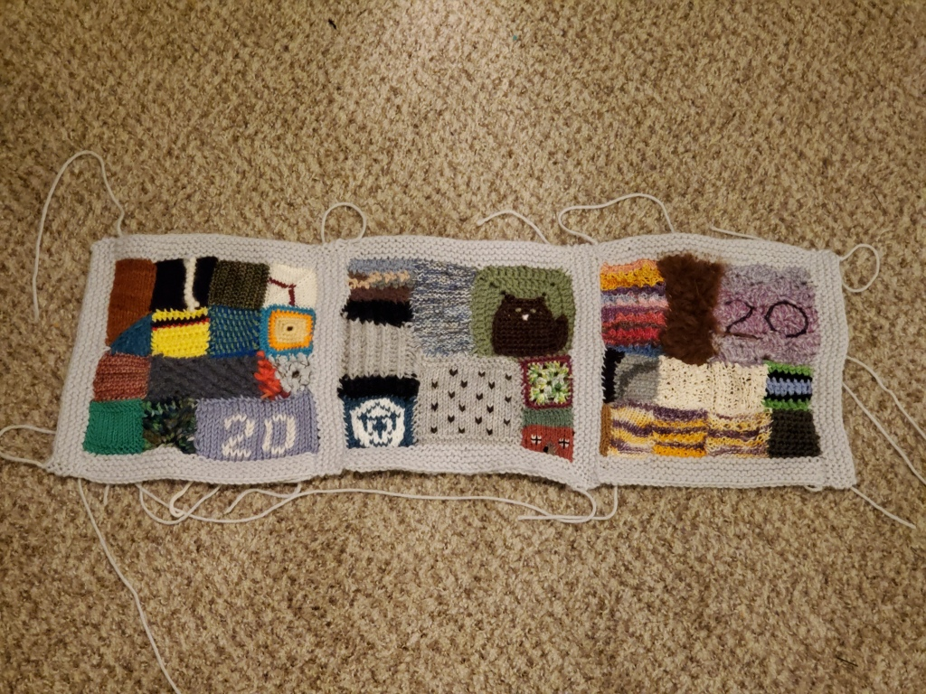 "Three ""crazy quilt"" blanket squares"