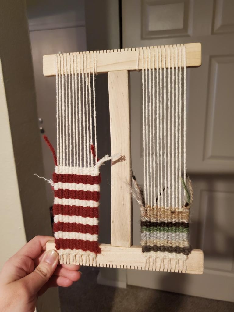 In-progress weaving projects