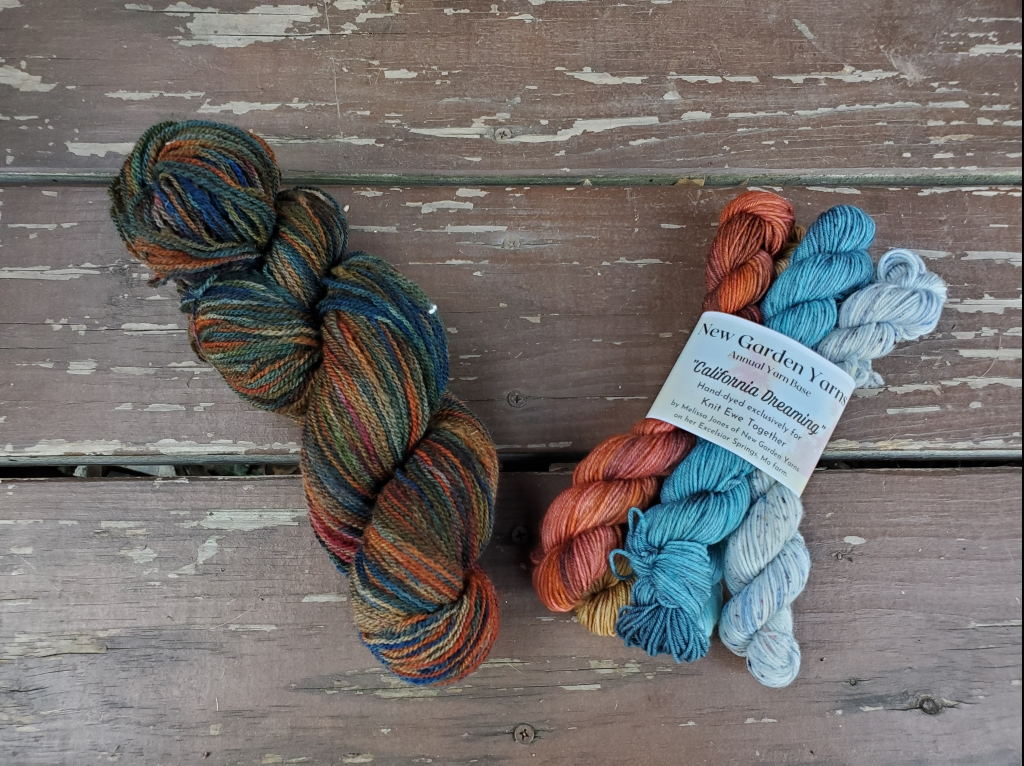 a full skein of yarn and a set of minis