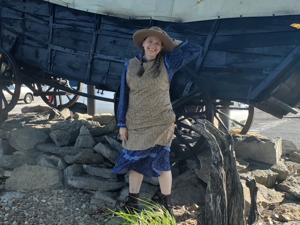 Emma modeling her pioneer garb