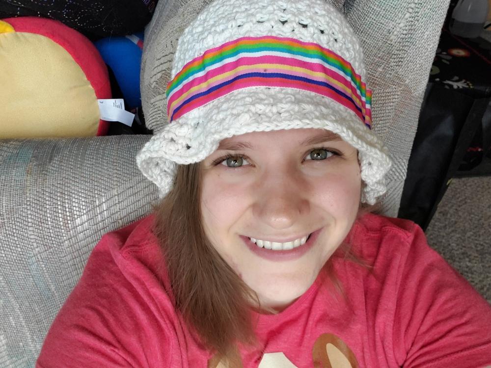 Emma in her bucket hat