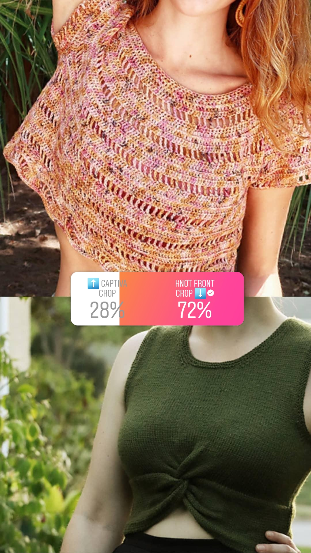 Story graphic showing a poll between two designs: 28% for Captiva and 72% for Knot Front