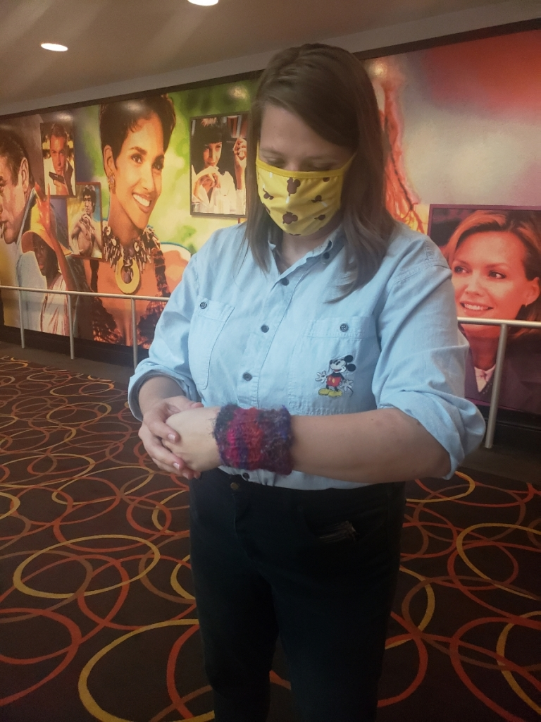 Emma with her new silk wrist cuff